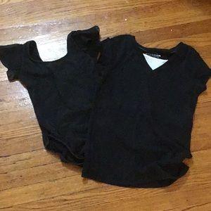 Black ballet leotard and a black ballet shirt